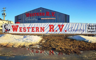 Western RV Building Sign and Fence Banner