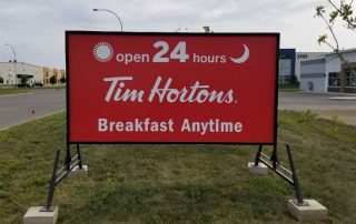 Portable sign for Tim Hortons